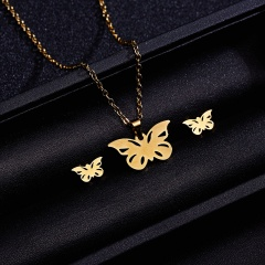 Jewelry Set Stainless Steel Womens Gold/Silver Pendant Necklace Earrings Gifts Hollow butterfly