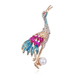 Women's Owl Alloy Trendy Crystal Rhinestone Colorful Brooch Pins Badge Gifts Crane