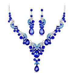 CA614-B Wedding Bridal Masquerade Necklace and Earrings Rhinestone Set Blue