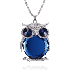 Rhinestone Crystal Owl Animal Pendant Necklace Long Sweater Chain Lady Jewellery Blue