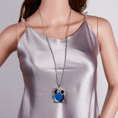 Women Owl Rhinestone Crystal Pendant Necklace Winter Long Sweater Chain Jewelry Blue Owl