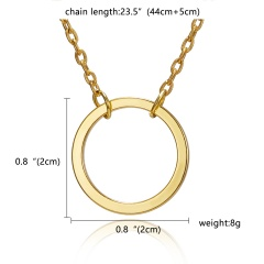 Fashion Silver Round Circle Pendant Necklace Chic Jewelry Costume Party Gift New Gold Round(No Card))
