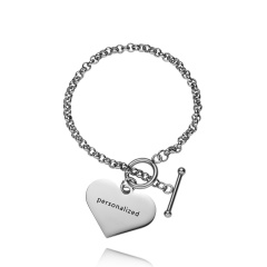 RINHOO Stainless Steel Heart Strip Personalized Custom Bracelet For Women Jewelry Sided Engraved Name Letters Word Cuff Bracelet Chain Silver Heart