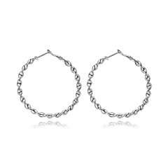 Silver Big Large Round Circle Ear Hoop Womens Earrings Wedding Jewelry Gift Circle