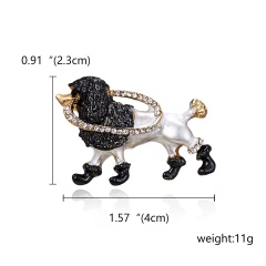 Rinhoo Crystal Alloy Monkey Dog Cat Frog Brooch For Women Party Brooches Pin For Collar Suit Scarf Decoration New Fashion Animal Jewelry Dog