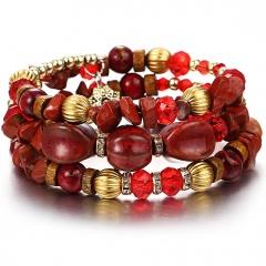 RINHOO Bohemian Natural Stone Beads Bracelets for Women Vintage Crystal Tibetan Ethnic Beaded Wrap Charm Bracelet Bangle Jewelry Red