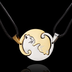 Fashion Cut Stainless Steel Cat Pendant Necklace Leather Chain Jewelry Gold & Silver