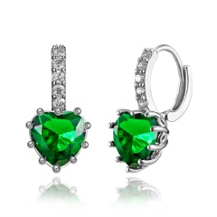 Fashion Heart Shaped Zircon Crystal Earrings Green
