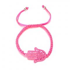 Fashion Alloy Palm Rope Braided Bracelet Pink
