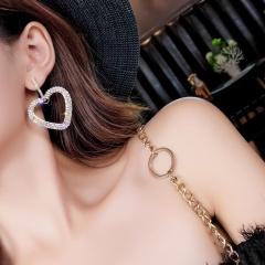 Fashion Luxury Shiny Diamond Hollow Heart Love Heart Earrings Silver