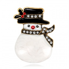 Rinhoo Enamel Alloy Christmas Skiing Snowman Brooches Cartoon Scarf Clothes Pin Jewelry For Women Girls Teens Gift #1