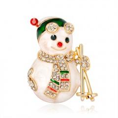Christmas Snowman Brooch Pin Crystal Santa Claus Xmas Party Gift Xmas snowman ski