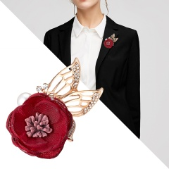 Handmade Cloth Lace Alloy Pearl Rhinestones Fabric Flower Brooch Cardigan Sweater Crystal Brooch Red