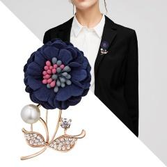 Handmade Cloth Lace Pearl Rhinestones Fabric Flower Brooch Cardigan Sweater Crystal Brooch Dark blue