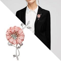 Handmade Cloth Lace Pearl Rhinestones Fabric Flower Brooch Cardigan Sweater Crystal Brooch Pink