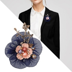 Handmade Cloth Lace Pearl Rhinestones Fabric Flower Brooch Cardigan Sweater Crystal Brooch Dark blue