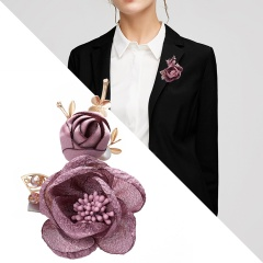 Fashion Korean Cloth Art Fabric Flower Brooch Shirt Collar Vintage Pins and Brooches for Women Dress Shirt Collar Accessories Purple