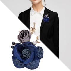 Fashion Korean Cloth Art Fabric Flower Brooch Shirt Collar Vintage Pins and Brooches for Women Dress Shirt Collar Accessories Blue
