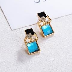 Fashion Charm Crystal Stud Earrings Geometric Square Earring Jewelry Women Gift light blue