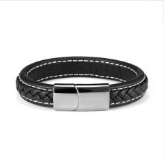 RINHOO Punk Men Braided Leather Bracelet Male Handmade Bracelet Stainless Steel Magnetic Clasp Male Wristband Gift Jewelry Bracelet 3