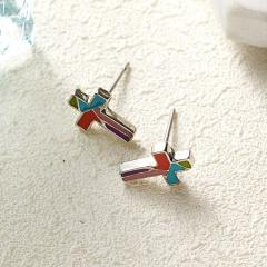 Fashion Women Cross Stud Earrings Charms Enamel Dangle Earrings Jewelry cross