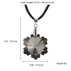 Fashion Crystal Heart Crystal Necklace Pendant Leather Jewelry Party Women Gift Black Snowflake