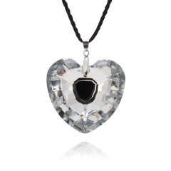 Peach Heart Love Crystal Necklace Long Chain Jewelry 1