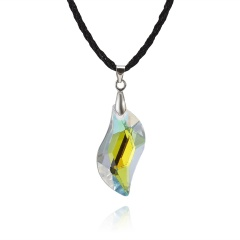 Fashion Willow Leaf Geometric Crystal Necklace Jewelry 1