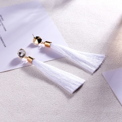 Round Crystal Tassel Stud Earrings White