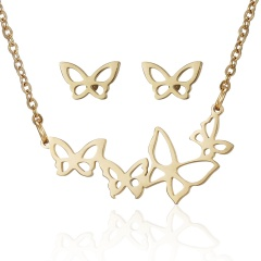 Fashion Smile Stainless Steel Necklace Earrings Jewelry Set Family Gift Party Butterfly