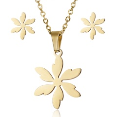 Fashion Smile Stainless Steel Necklace Earrings Jewelry Set Family Gift Party Flower