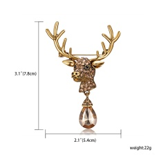 Rinhoo Fashion Crystal Deer Elk Brooches Vintage Animal Antlers Head Alloy Rhinestone Collar Brooch Pins Christmas Accessories Jewelry Gold