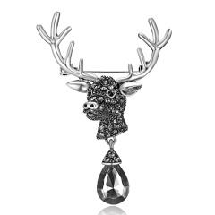 Rinhoo Fashion Crystal Deer Elk Brooches Vintage Animal Antlers Head Alloy Rhinestone Collar Brooch Pins Christmas Accessories Jewelry Silver