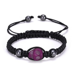 RINHOO Skull Head Braided Bracelet Macrame Charm Wrap Cord Stones Beaded Bracelets Bangles Vintage Rope Jewelry For Men Women Purple