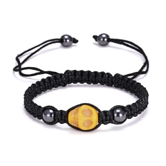 RINHOO Skull Head Braided Bracelet Macrame Charm Wrap Cord Stones Beaded Bracelets Bangles Vintage Rope Jewelry For Men Women Yellow