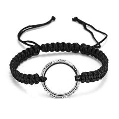 RINHOO Fashion Braided Bracelet Lettering Round Circle Charm Wrap Cord Metal Bangles Vintage Rope Jewelry Bracelets For Men Women Mine!