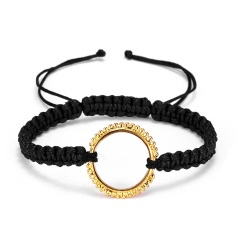 RINHOO Fashion Braided Bracelet Lettering Round Circle Charm Wrap Cord Metal Bangles Vintage Rope Jewelry Bracelets For Men Women Shared Secrets 1