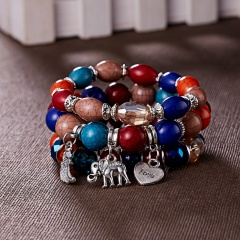 RINHOO 3pcs/set Fashion High Quality Boho Bracelets & Bangles Beaded Bracelet With Colorful Gem Long Wrap Bracelet for Women Colorful