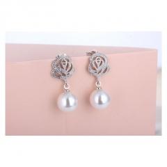 Luxury Romantic Rose Flower Imitation Pearl Earrings for Women Jewelry white