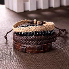 RINHOO Vintage Leather Bracelets for Men Bohemia Multilayer Beads Wrap Punk Rope Jewelry Valentine's Day Gift Bracelets Bangles Bracelet1