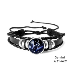 RINHOO 12 Constellations Leather Bracelets For Women Men Zodiac Sign Snap Charms Stones Beads Bangle Jewelry Bracelets & Bangle Bracelet 5