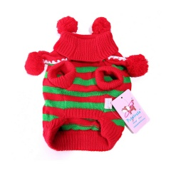Christmas Small Pet Dog Sweater Winter Warm Clothes Pompom Stripe Xmas Costume Red+Green