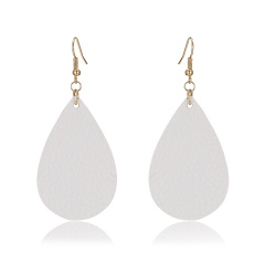 1 Pair Drop Shape Artificial Leather Earrings White