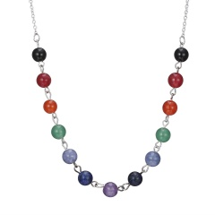 7 Chakra Beads Pendant Necklace Women Yoga Reiki Healing Balancing Jewelry Silver