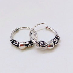 1 Pair Ethnic Style Round Small Hoop Earrings Vintage Twining Circle Earring for Men Women Jewelry with bead