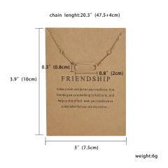 Fashion Geometric Polygon Paper Card Necklace Short Chain Women Jewelry Party Friendship