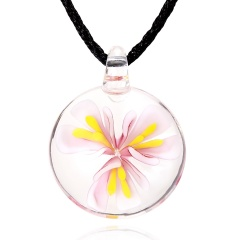 Fashion Flower Inside Round Glass Pendant Necklace Black Rope With Lampwork Glass Men's Necklace Jewelry Pink