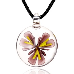 Fashion Flower Inside Round Glass Pendant Necklace Black Rope With Lampwork Glass Men's Necklace Jewelry Purple