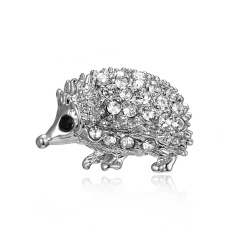 Silver Color Crystal Animal Brooch Rhinestone Alloy Owl Starfish Hedgehog Squid Clothes Pin Brooches For Women Jewelry Gifts Hedgehog