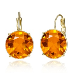 Fashion Women Round Geometric Crystal Earrings Jewelry orange